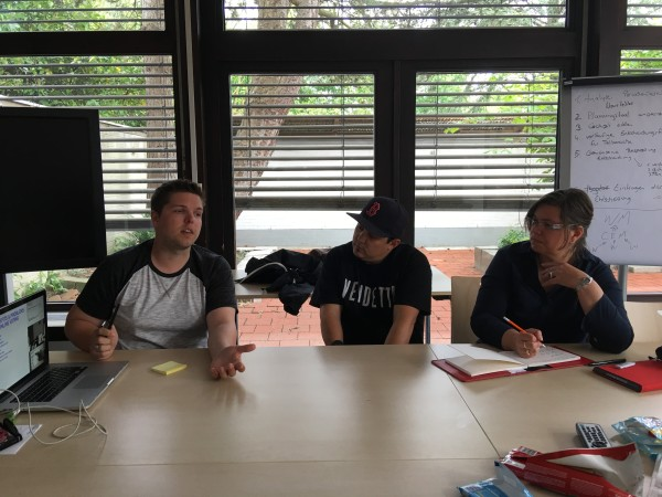 z, hector and andrea at our work table